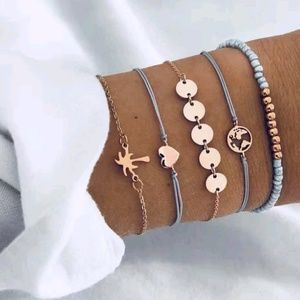 Boho Gypsy Charm Bracelet Set Heart